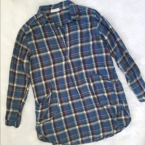 CP Shades Blue Plaid Long Sleeve Tunic